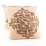 Ivory Pillows with Bronze Decorative Beading (2)