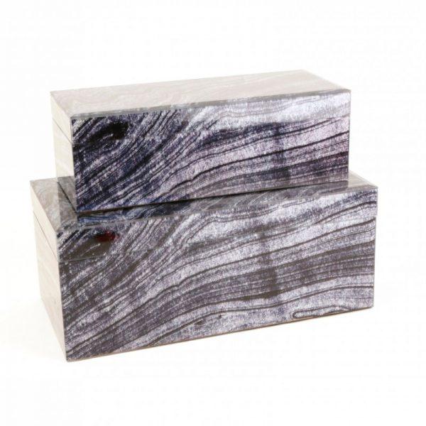 Black and White Faux Granite Boxes (2)