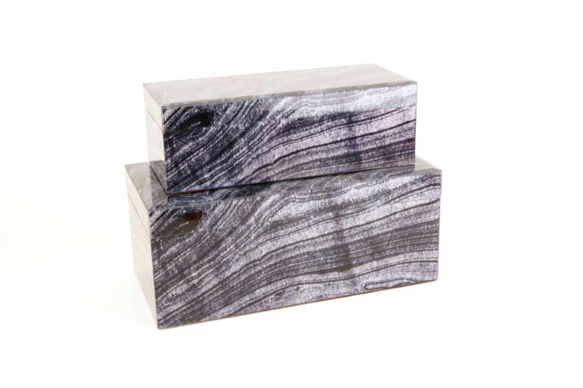 Black and white faux granite boxes 2 studio 77 home design for Black box container studios
