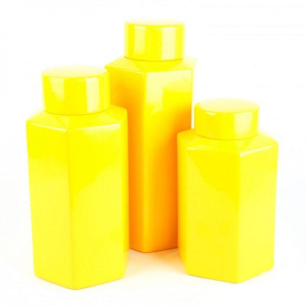 Bright Yellow Ceramic Ginger Jars (3)