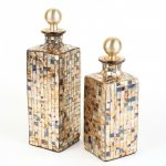 Gold Glass Mosaic Decanters (2)