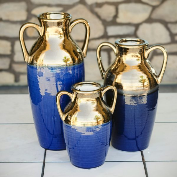 Blue and Gold Ceramic Urns (3)