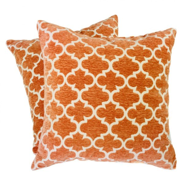 Geometric Orange And White Square Pillows 2