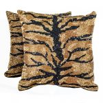 Gold and Black Sequined Animal Print Pillows (2)