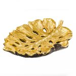 Large Gold Long Leaf Resin Bowl