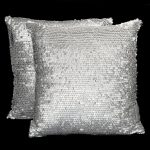 Brushed Silver Metallic Pillows (2)