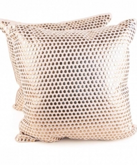 Cream Pillows with Copper Studs (2)