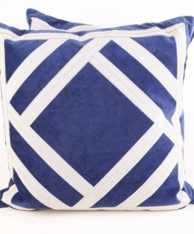 Royal Blue Pillows with White Geometric Trim (2)
