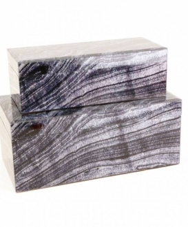Black and White Faux Granite Boxes (2)