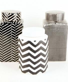 Contemporary Black and White Ceramic Jars
