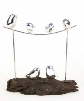 Silver Birds on a Branch Sculpture