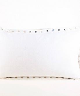 Rectangular White/Silver Threaded Pillow w/ Studs
