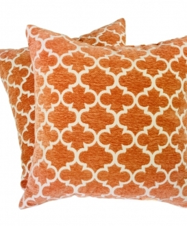 Geometric Orange and White Square Pillows (2)