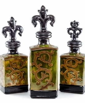 Ceramic Green and Brown Decorative Bottles(3)